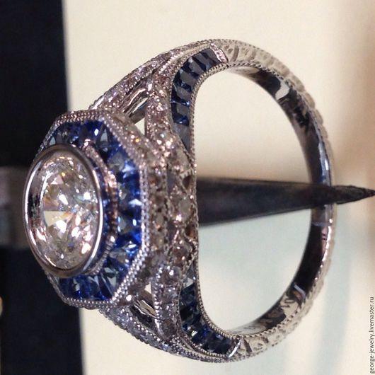 Кольца ручной работы. Ярмарка Мастеров - ручная работа. Купить Женское кольцо из белого золота с сапфирами и бриллиантами. Handmade. Белый