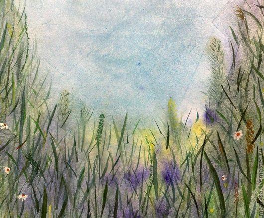 """Пейзаж ручной работы. Ярмарка Мастеров - ручная работа. Купить """"В траве"""" акварельная работа. Handmade. Природа, зелень, синий"""