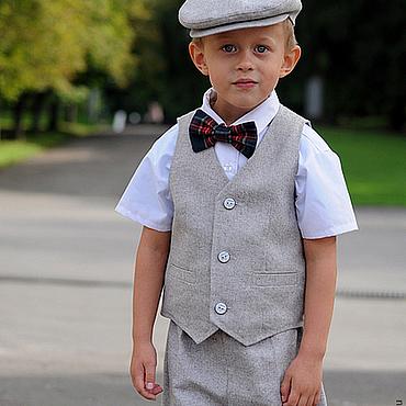 Работы для детей, ручной работы. Ярмарка Мастеров - ручная работа Детский нарядный комплект: кепка, жилетка и шорты. Handmade.
