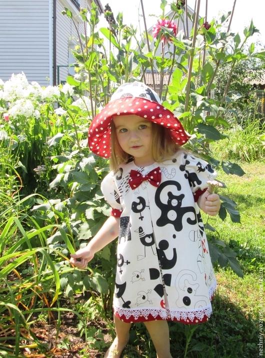 """Одежда для девочек, ручной работы. Ярмарка Мастеров - ручная работа. Купить Платье """" Зоосад"""" + шляпка. Handmade. для девочки"""