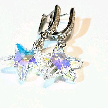 Decorations handmade. Livemaster - original item Swarovski starfish Crystal earrings.. Handmade.