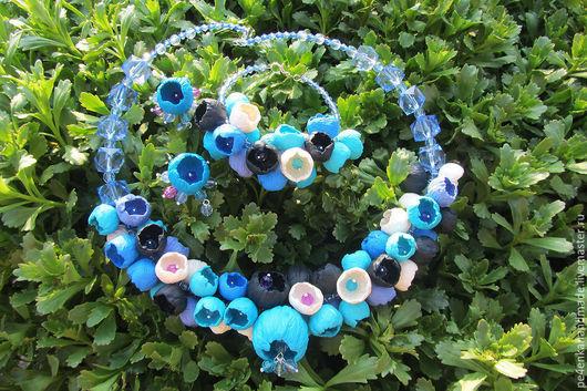 Комплекты украшений ручной работы. Ярмарка Мастеров - ручная работа. Купить Комплект из пластики Синие цветы. Handmade. Синий, пластика
