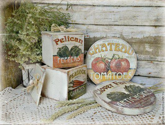 Кухня ручной работы. Ярмарка Мастеров - ручная работа. Купить Набор для кухни в деревенском стиле. Handmade. Бежевый, короб для специй