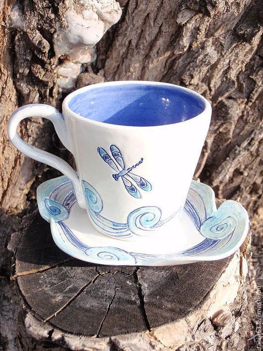 """Сервизы, чайные пары ручной работы. Ярмарка Мастеров - ручная работа. Купить Чайная пара """"Стрекозы"""". Handmade. Бирюзовый, стрекозы"""