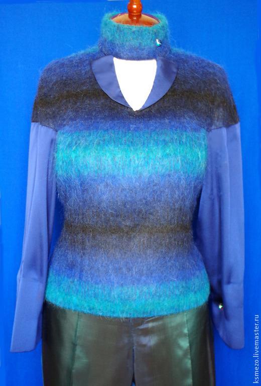 Блузки ручной работы. Ярмарка Мастеров - ручная работа. Купить Блуза тёплая из мохера на шифоне. Handmade. Тёплая одежда из шерсти