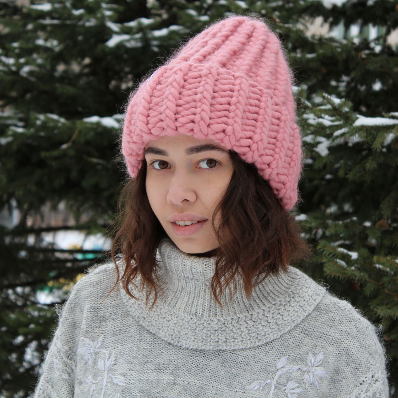 Модная объемная вязаная шапка розового цвета из перуанской ...
