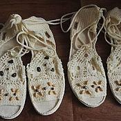 Обувь ручной работы. Ярмарка Мастеров - ручная работа Вязанные босоножки. Handmade.