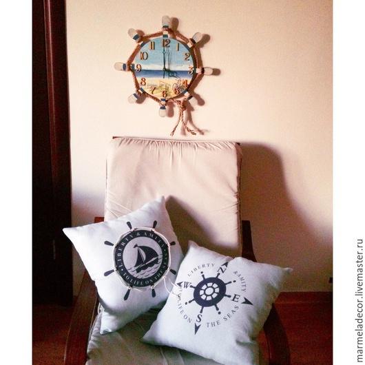 Текстиль, ковры ручной работы. Ярмарка Мастеров - ручная работа. Купить Подушки в морском стиле из чистого льна. Handmade. Подушка