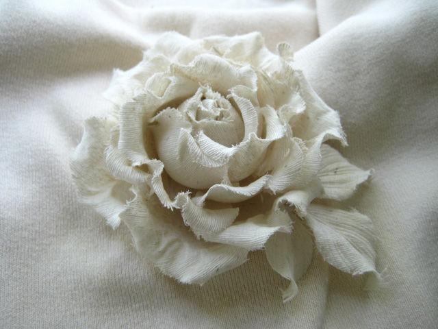 Silk Flowers Brooch Hairpin White Rose Wild Silk Shop Online On