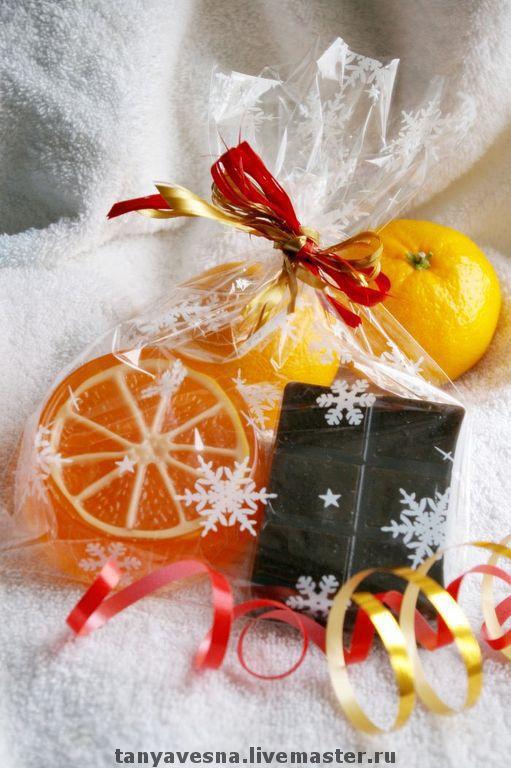 Новый год 2017 ручной работы. Ярмарка Мастеров - ручная работа. Купить Набор мыла Шоколад и мандарин в подарочной упаковке. Handmade.