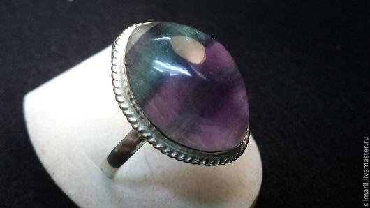 кольцо`Фиалка`цена1250 натуральный флюорит Серебренников