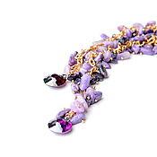 """Украшения ручной работы. Ярмарка Мастеров - ручная работа Чокер-галстук """"Водопад"""" чароит,цирконы, фиолетовый.Сиреневый. Handmade."""