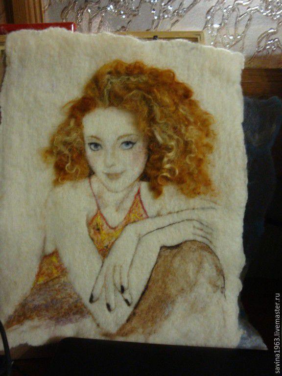 Люди, ручной работы. Ярмарка Мастеров - ручная работа. Купить Портрет по фото из шерсти. Handmade. Оригинальный подарок, портрет по фото