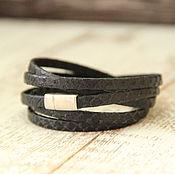 Украшения ручной работы. Ярмарка Мастеров - ручная работа Браслет из кожи. Кожаный браслет намотка чёрный 5 мм. Handmade.