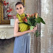 Одежда ручной работы. Ярмарка Мастеров - ручная работа Шелковый топ, 100% натуральный шелк, эксклюзив Нарядный. Handmade.