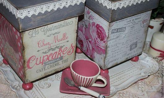 Кухня ручной работы. Ярмарка Мастеров - ручная работа. Купить Большие коробочки для хранения.... Handmade. Розовый, розы, прованский стиль