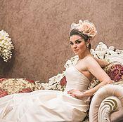 Свадебный салон ручной работы. Ярмарка Мастеров - ручная работа Свадебная вуалетка с шелковыми розами. Handmade.