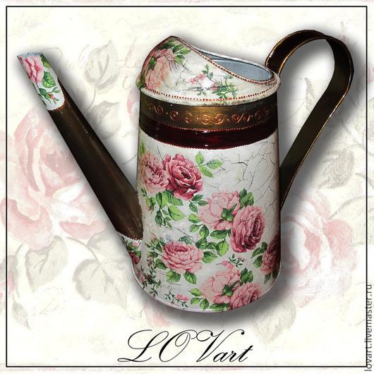 """Лейки ручной работы. Ярмарка Мастеров - ручная работа. Купить Лейка """"Розы бордо"""". Handmade. Декупаж, лейка для цветов, подарок"""