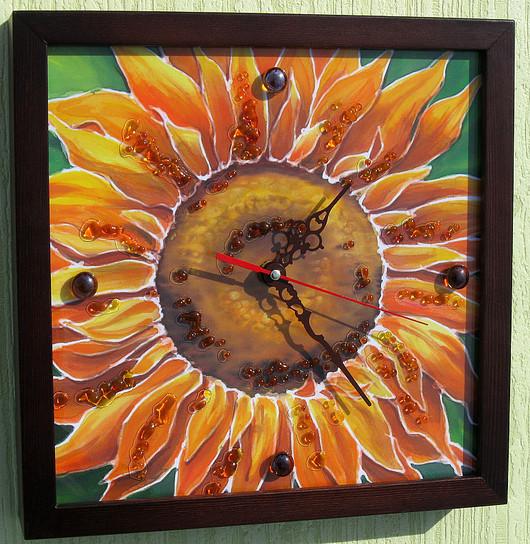 """Часы для дома ручной работы. Ярмарка Мастеров - ручная работа. Купить Часы """"Подсолнух"""". Handmade. Часы, Батик, солнечные, оранжевый"""