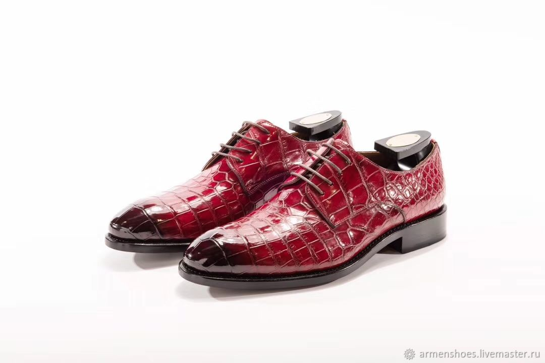Crocodile patent leather Derby, handmade to order!, Derby, Tosno,  Фото №1