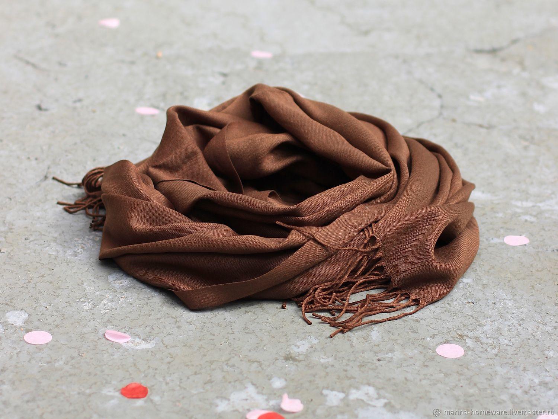 Темно-коричневый палантин из хлопка, Платки, Москва,  Фото №1