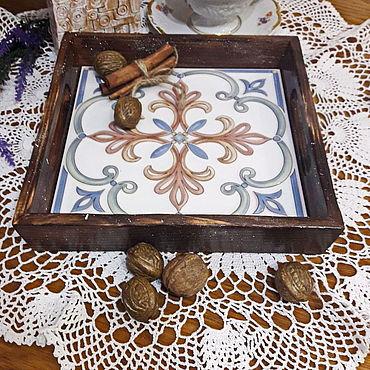 Для дома и интерьера ручной работы. Ярмарка Мастеров - ручная работа Небольшой поднос, подставка под горячее. Handmade.