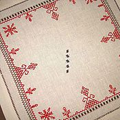 Для дома и интерьера handmade. Livemaster - original item Napkin with embroidery Dance. Hand embroidery. len. Russian style. Handmade.