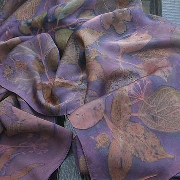 Аксессуары ручной работы. Ярмарка Мастеров - ручная работа Шелковый платок Когда закончится лето экопринт. Handmade.