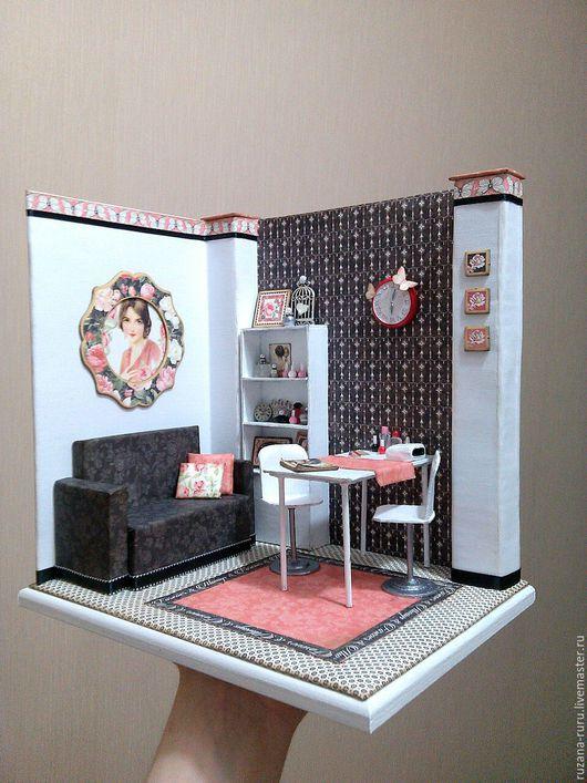 """Кукольный дом ручной работы. Ярмарка Мастеров - ручная работа. Купить Румбокс """"Маникюрный салон"""". Handmade. Румбокс, миниатюра для кукол"""