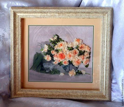 """Картины цветов ручной работы. Ярмарка Мастеров - ручная работа. Купить Картина """"Чайные розы"""". Handmade. Бежевый, розы из лент"""
