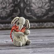 Куклы и игрушки ручной работы. Ярмарка Мастеров - ручная работа Слоник Плюх. Тедди. 9см. Вискоза, миништоф.. Handmade.