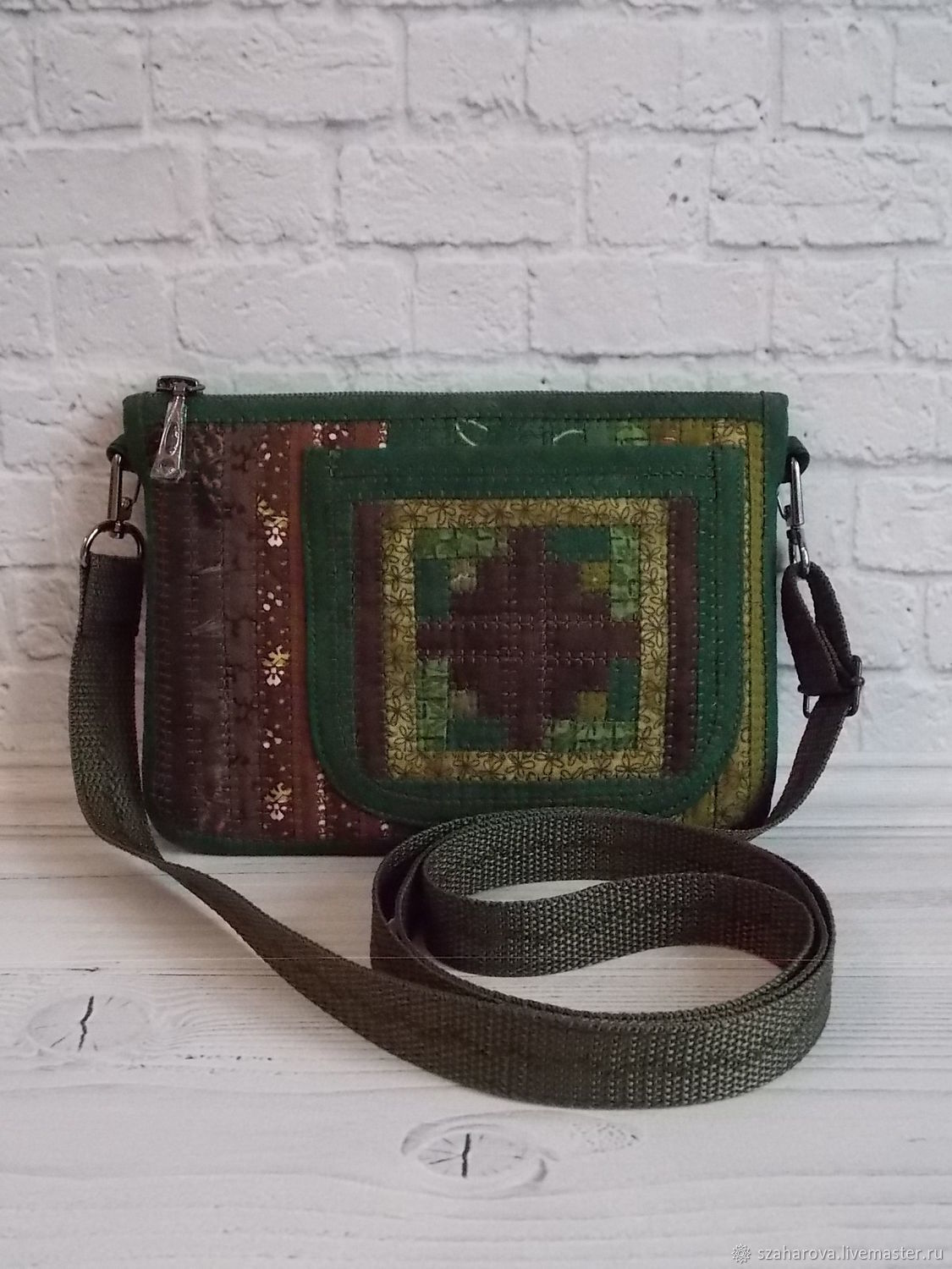 Small patchwork bag, for phone, for walking, Green, Crossbody bag, Novosibirsk,  Фото №1