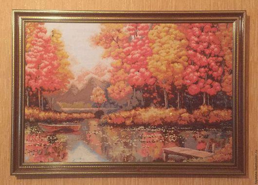 """Пейзаж ручной работы. Ярмарка Мастеров - ручная работа. Купить Картина """"Осень"""". Handmade. Вышивка крестом, вышивка, картина"""