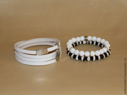 Браслеты ручной работы. Ярмарка Мастеров - ручная работа. Купить Кожаный браслет из кожи белой 5мм,  с агатом белым,зебра. Handmade.