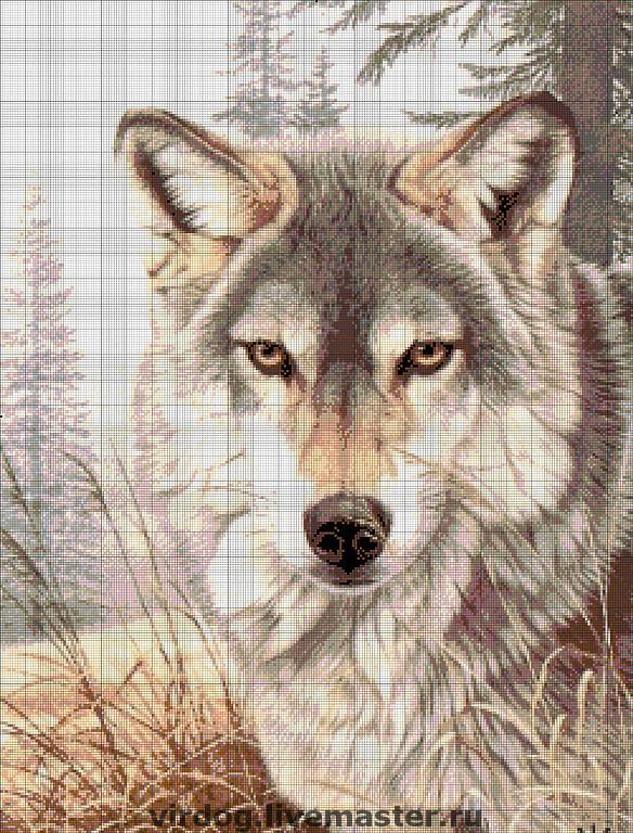 Вышивка картины схемы волки
