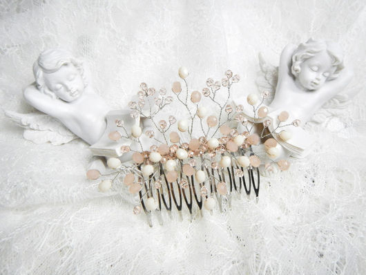 Свадебные украшения ручной работы. Ярмарка Мастеров - ручная работа. Купить Свадебный гребень FONDNESS (пыльная роза). Handmade.