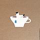 """Открытки и скрапбукинг ручной работы. наклейка """"чайка чая"""". Ванины Следы. Интернет-магазин Ярмарка Мастеров. Стикер, чашка, чай"""