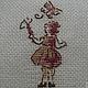 Аппликации, вставки, отделка ручной работы. Ярмарка Мастеров - ручная работа. Купить Девочка и бабочка №2 - вышивка через 1 нить. Handmade.