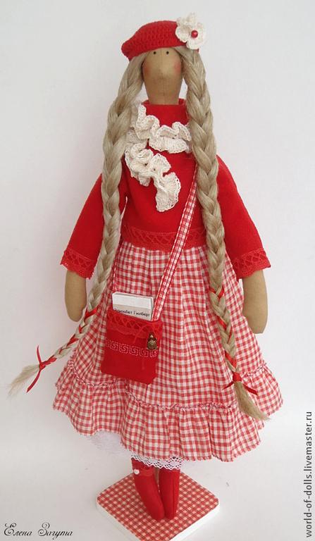 Куклы Тильды ручной работы. Ярмарка Мастеров - ручная работа. Купить Элизабет -кукла в стиле Тильда. Handmade. Ярко-красный