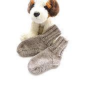 Работы для детей, handmade. Livemaster - original item knitted socks baby socks for boy, dark beige. Handmade.