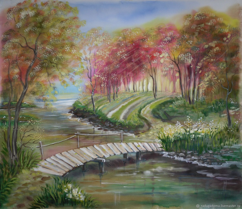 Пейзаж ручной работы. Ярмарка Мастеров - ручная работа. Купить Картина, пейзаж, акварель . Золотая осень.оранжевый, рыжий, красный. Handmade.