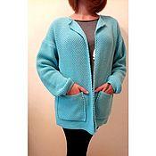 Одежда handmade. Livemaster - original item Cardigan no closure patch pockets wool blend. Handmade.