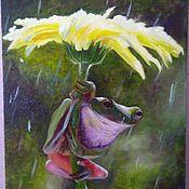 """Картины и панно ручной работы. Ярмарка Мастеров - ручная работа картина с юмором  """"Под зонтом"""". Handmade."""