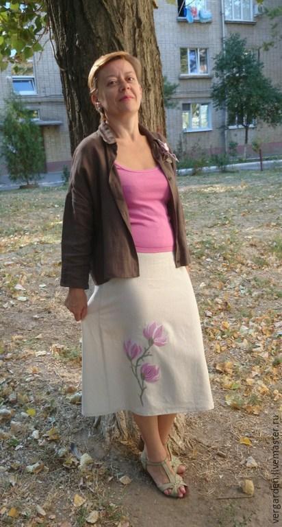 """Юбки ручной работы. Ярмарка Мастеров - ручная работа. Купить Юбка с вышивкой """"Магнолии цветут"""". Handmade. Розовый, цветы"""