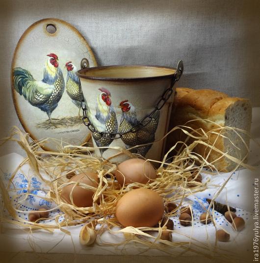 """Кухня ручной работы. Ярмарка Мастеров - ручная работа. Купить ведерко """"Куриное кантри"""". Handmade. Бежевый, ручная работа"""