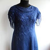 Одежда ручной работы. Ярмарка Мастеров - ручная работа Валяное платье Navy  Blue. Handmade.
