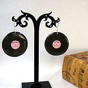 Украшения handmade. Livemaster - original item Transparent Earrings Vinyl Records Black Rose-Melody Music. Handmade.