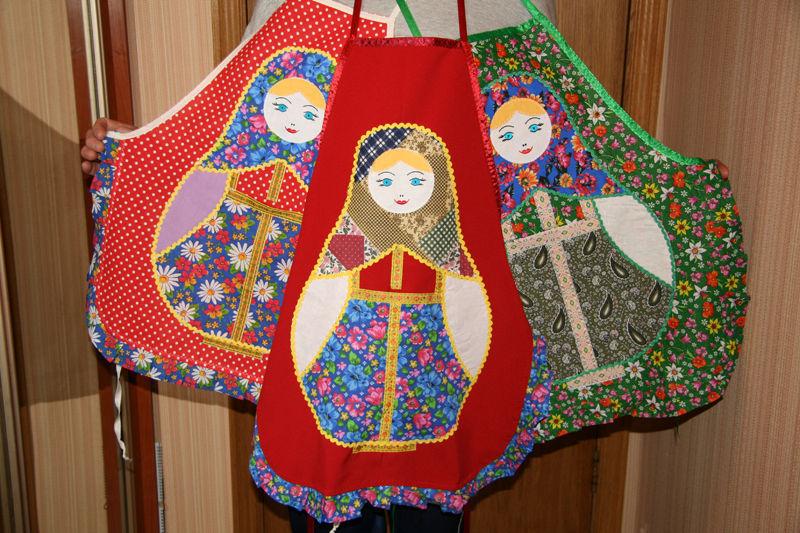 Apron 'Matryoshka' art patchwork applique, Aprons, Moscow, Фото №1