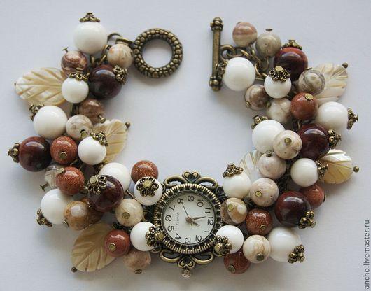"""Часы ручной работы. Ярмарка Мастеров - ручная работа. Купить Часы """"Осенние прелести"""". Handmade. Коричневый, часы-браслет, браслет"""