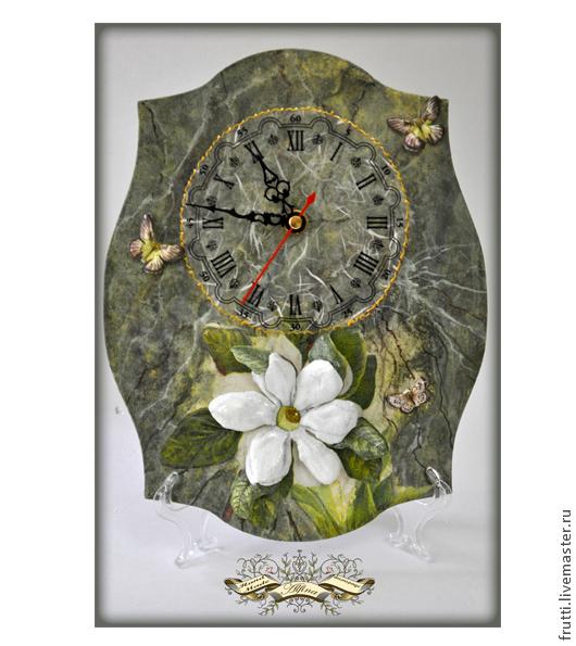 """Часы для дома ручной работы. Ярмарка Мастеров - ручная работа. Купить Часы """"Цветок и мрамор"""". Handmade. Тёмно-зелёный"""